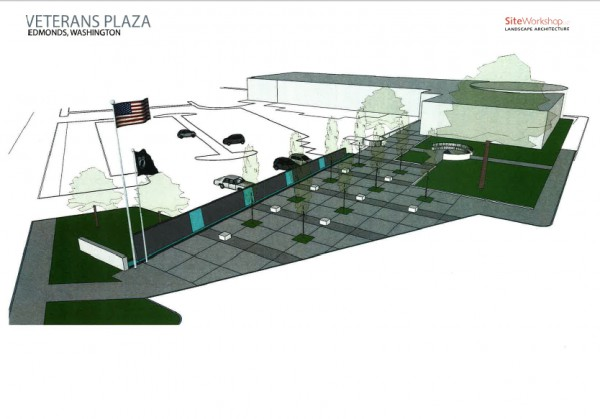 An overview of the plaza design, which would include a water feature and a garden.