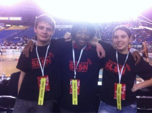 Members of the Edmonds School District broadcast field production class at the Tacoma Dome earlier this month.