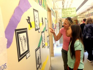 Annette and Natalie Colobong enjoy looking at student artworks. (Photos courtesy of Westgate Elementary)