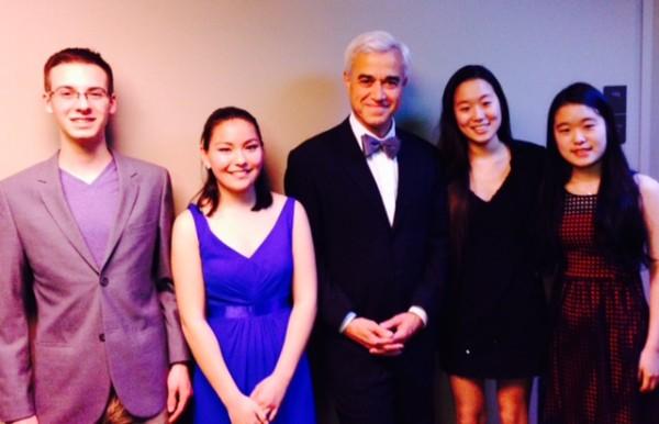 From left, Ryan Petriello, Mira Yamamoto, conductor Michael Miropolsky, Nayeon Kim and Najung Kim.
