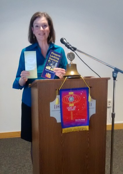 """The Edmonds Rotary club welcomed Pamela Van Swearinger, Attorney and volunteer for the JUST ASK Campaign as their speaker of the day.  Pamela volunteers through the Washington Cease Fire Foundation and Seattle King County Public Health to educate people on the importance of locking up any fire arms at home.  One of three homes with children in America have guns, many unlocked or loaded.  Every year thousands of children are killed or seriously injured as a result.  There are 30,000 deaths in the US a year and of that 2/3 are suicides, many of which are children.  """"JUST ASK"""" is a phrase that should become as important to us as """"Do not drink and drive"""" and """"Buckle up for safety"""".  Just Ask when your child is invited to another home, """"do you have guns in your home and are they locked up securely?"""