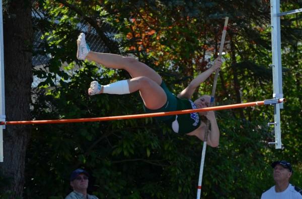 "Jennifer Roper took 1st place in the  JV pole vault at 7' 6""."