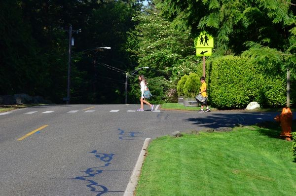 """Raymond and his sister Sarah Singkeo must walk this narrow, uneven pathway along 236th Street Southwest to access the crosswalk to Madrona School.  Raymond, a student in the Madrona deaf program, cannot hear cars approaching from behind. """"I'm afraid to walk here,"""" he says."""
