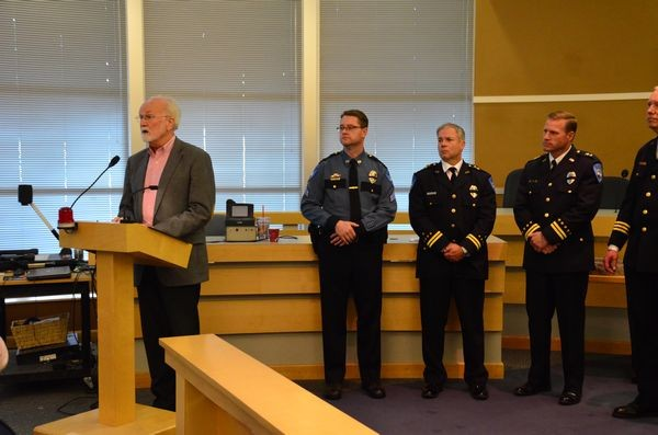 Sgt. Shane Hawley, Assistant Chiefs Jim Lawless and Don Anderson, and Chief Compann listen as Mayor Dave Earling expresses his commitment to restoring the street crimes unit to the Edmonds Police Department.  The unit was cut in 2009 for budgetary reasons.