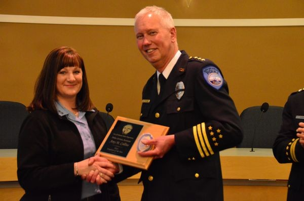 Amy Colling is recognized as non-commissioned employee of the year for her ongoing administrative support and her skilled management of the transfer of Edmonds Police Department records to the new county-wide system.