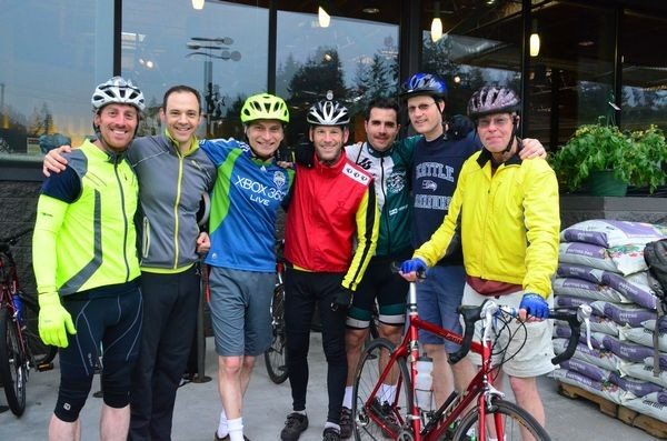 City of Edmonds employees came out in force to support Bike to Work Day.  L to R Ryan Hill, Royce Napolitino, Mike DeLilla, Mike Cawrse, Bertrand Haus and Leif Bjorback with EBAG's Hank Landau.