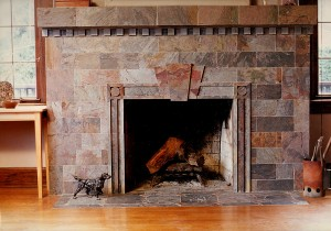 """Rajah """"Multi-color"""" slate fireplace with mitered edges."""