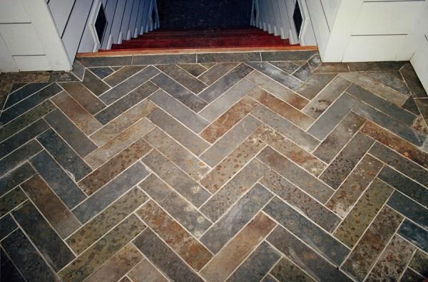 Herringbone pattern autumn slate porch.