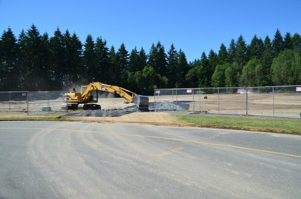 Work last week at the former Woodway High School included tearing up the grass in preparation for the installation of crumb rubber turf.