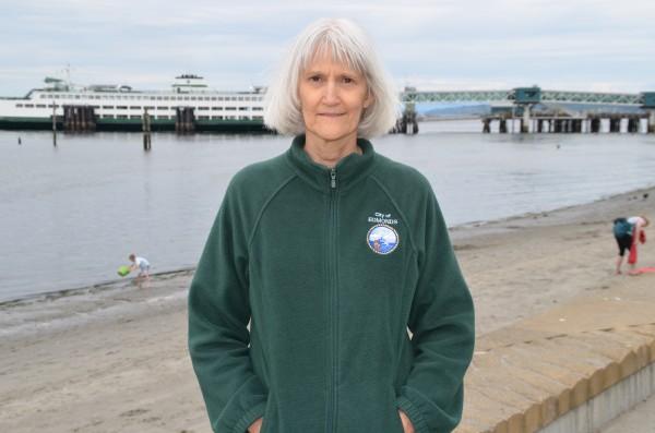 City of Edmonds Environmental Coordinator Sally Lider at Olympic Beach.