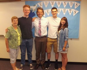 Student scholarship winners from Edmonds Heights K-12. From left: Linda Fitzgerald-Foundation Scholarship Committee Chair, Kevin Keogh, Principal Scott Mauk, Michael DiGiovanni , and Stephanie Medina.