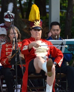 Edmonds' own Edith Farrar joined in with the Ballard Sedentary Sousa Band for a 2014 Sunday Concert in the Park. (Photo by Larry Vogel)