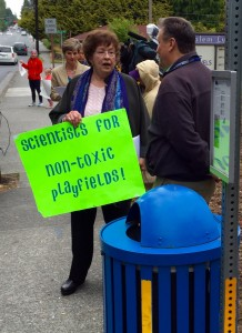 State Sen. Maralyn Chase at Monday morning's turf fields protest.