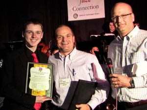 Ryan Leppich from Mountlake Terrace High School was awarded a $2,000 scholarship from Jazz Connection Chairman Chris Lindberg, far right, and Daybreakers member and sponsor Jamie Reece. (Photo by Larry Vogel)