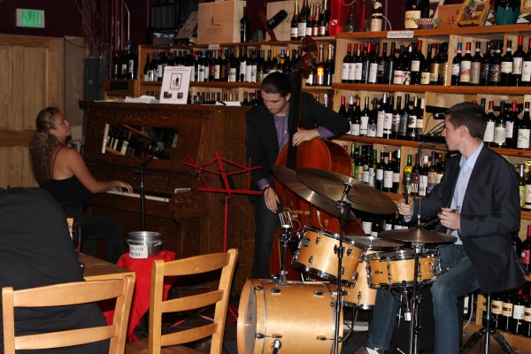 The Ryan Leppich Trio, made up of EWHS grad Emma Howelier (far left), EWHS student Luis Ross (center) and Ryan Leppich (right), played Wednesday night at the North City Bistro in Shoreline.