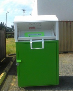 The new donation bin outside Clothes for Kids.