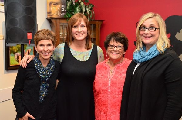 """Program heads Ingrid Ricks and Marjie Bowker are joined by outgoing Scriber principal Kathy Clift and incoming principal Andrea Hillman.  The student authors dedicated """"We Hope You Rise Up"""" to Clift, a 40-year educator who has spent the last 13 years as Scriber principal."""
