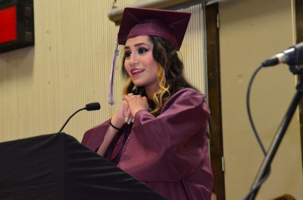 """Class speaker Leslie Sanabria told her personal story of failed attempts to succeed and fit in at other schools, and how she was finally able to find herself and realize her dreams at Scriber.  She thanked Principal Cathy Clift, the faculty and all her fellow students for simply """"letting me in and being here for me."""""""