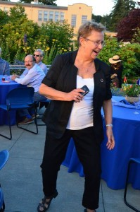 Jean Swenson of Edmonds, who will celebrate her 80th birthday on July 11, shows off her dance steps as the music heats up.