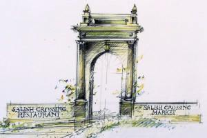 Here's the artist's rendering of how the portico will be installed at Salish Crossing.