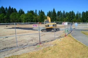 The former Woodway High School field being prepared for the crumb rubber field surface in late June.