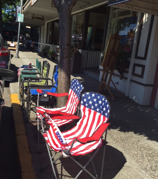 You know it's getting close to July 4th in Edmonds when parade goers start setting up their chairs along the parade route a few days early. These are in front of the Edmonds Bookshop on 5th Avenue South.