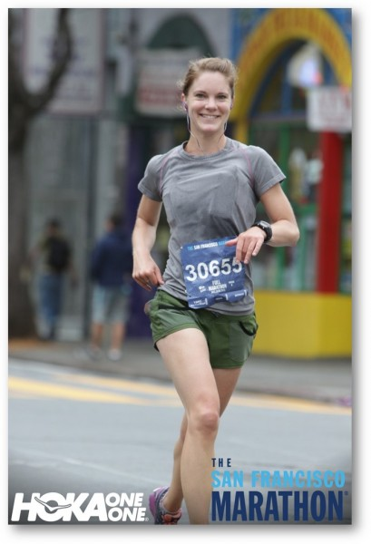 Proud dad Mike Meeks shared this photo of his daughter Liz Meeks running in the San Francisco marathon last Sunday, July 26. It was her first marathon and she finished 59th out of 2,000 women runners, and also .finished 17th in her age group, Mike Meeks said. The finish also qualified her for the Boston Marathon.                          An Edmonds native, Liz Meeks graduated from Graduate of Edmonds Elementary; Holy Rosary and Holy Names Academy.