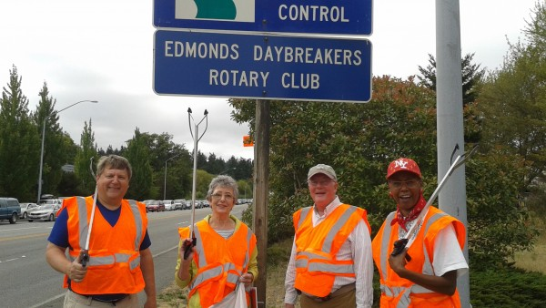 Edmonds Daybreakers Rotary recently performed its quarterly task of picking up garbage along Edmonds Way. We took a minute for a photo op. Rotarians Jeff Scherrer, Linda and Mike Denton and me (Karen Shiveley).  Our ringleader, Bill Bengston, was pleased to note that there was less trash than usual.