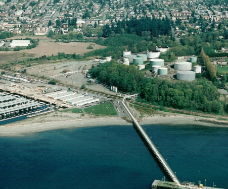 This aerial view, taken in the mid 1990s, shows the Unocal Bulk Fuel Terminal prior to cleanup.