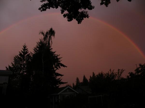 From Deborah Binder, a rainbow at sunset.