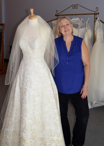 Barbara Hall at her new bridal boutique in Perrinville.