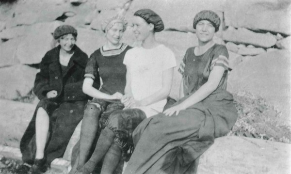 Frances Anderson and friends after a swim in the Puget Sound. From left: Edith Brackett, Pearl Jones, Anderson and Mildred Dorgan.  (Photo courtesy of Edmonds HIstorical Museum)