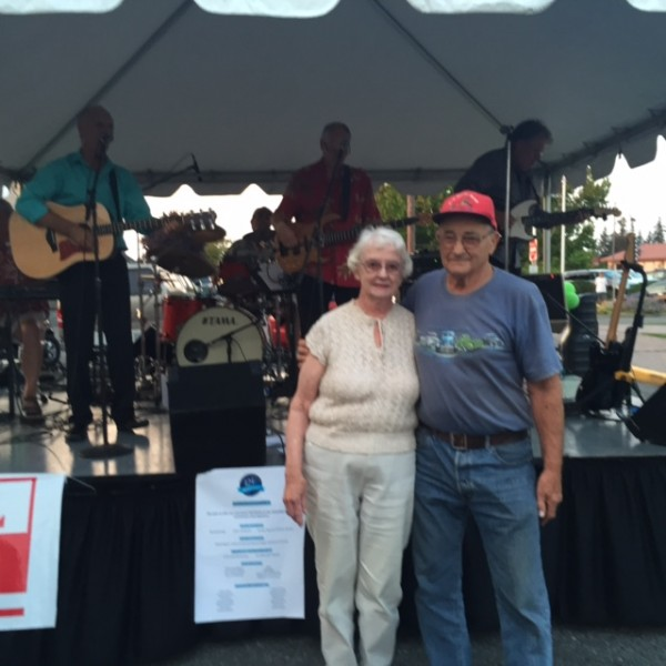 Long-time Edmonds residents Eileen and Bruce Nicholson, shown at Tuesday night's street dance celebrating Edmonds' 125th anniversary, had something else to celebrate: Their 60th wedding anniversary.
