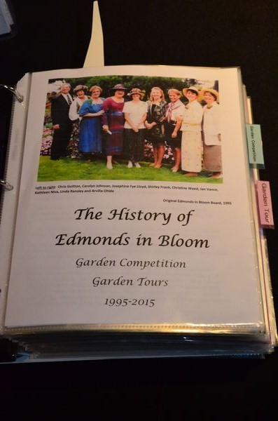 Guests were able to enjoy tracing the 20-year history of Edmonds in Bloom via a collection of photos and other materials on display at the event.