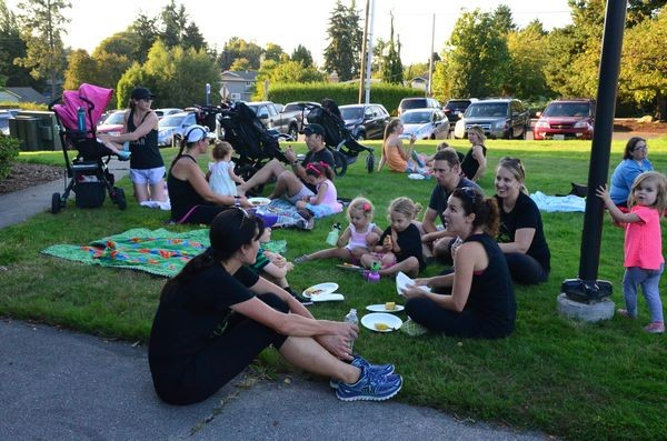 After the run is complete, participants enjoy pizza from Portofino's Restaurant.