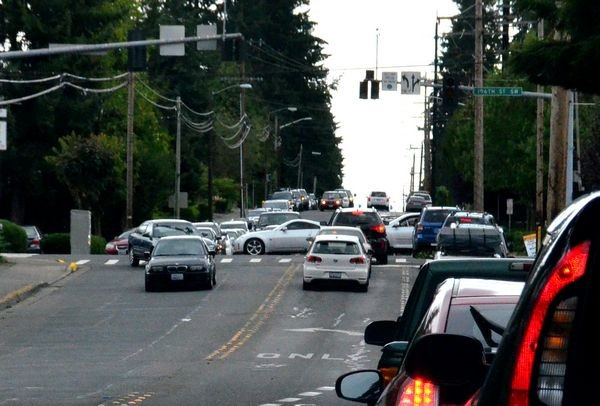 With traffic lights out Saturday, and drivers treating inoperative signals as 4-way stops, it was slow going along 196th Street in Edmonds.