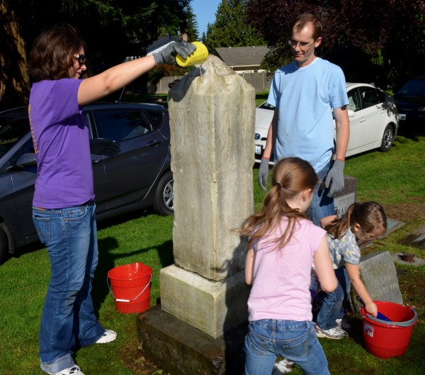 Volunteering is a family affair for Edmonds residents Stephen and Holly Johnson with daughters Emma, left, and Adalyn.