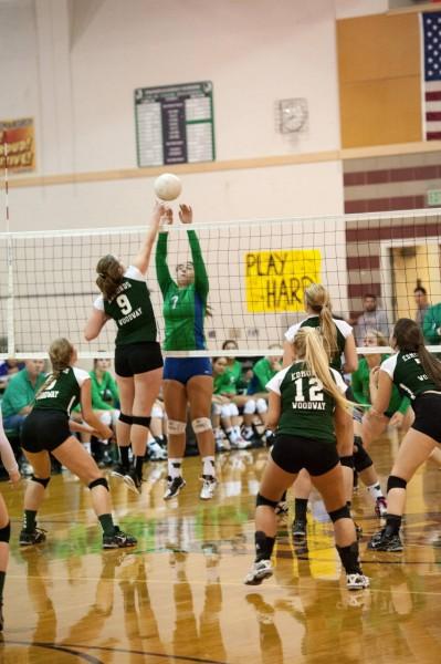 Maddie Tudor defends the net.