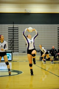 Edmonds-Woodway's Kelly Gootee sets the ball.