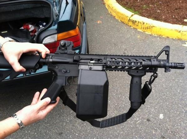 "The ""assault rifle"" on display."