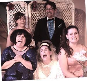 "Cast of ""One Slight Hitch,"" clockwise from upper left: Jordon Fernstad; Elizabeth Adkisson; Rebekah Dawn; Keith Dahlgren; Melanie Calderwood; and Simone Barron. (Courtesy Phoenix Theatre)"