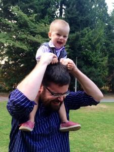 Colin Thompkins with son Connor.