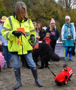 Owner and dog, third place: Fire Truck and Fireman with Joy Whitten of Edmonds and dog Kirby.