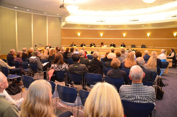 The candidate forum drew a crowd to the City Council Chambers Monday night.