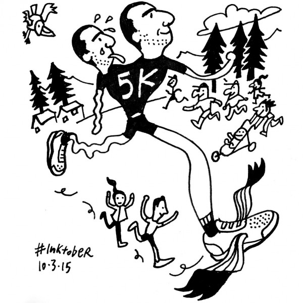 "Seattle Times artist Gabriel Campanario, otherwise known as ""Seattle Sketcher,"" sketched himself participating in last week's Foundation run. The sketch ran in last Sunday's Seattle Times."