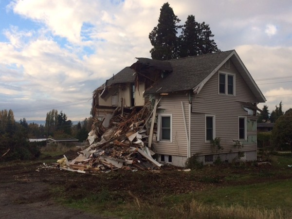 This turn-of-the-century home at 860 Caspers Street was demolished Wednesday to make way for a new seven-home development. The home, built in 1913, was located just east of the Edmonds United Methodist Church.