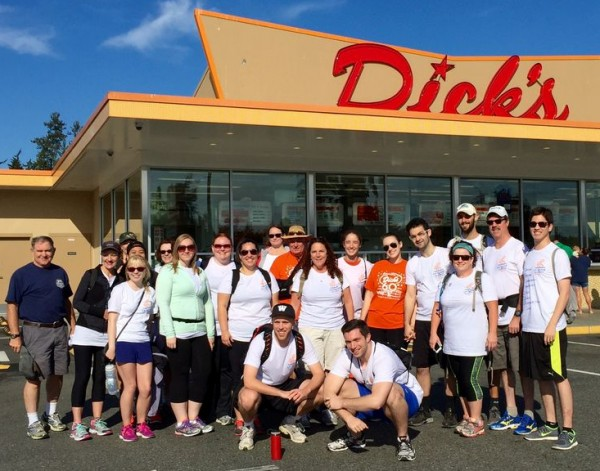 The Dick's Walkathon group gets ready to depart from Edmonds on a 22-mile trek to all Dick's locations.