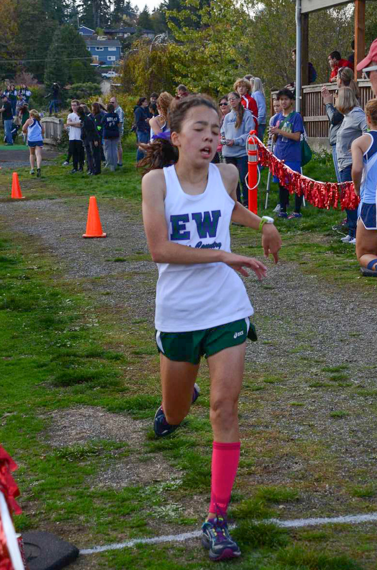 Edmonds-Woodway's Yukino Parle finshed second in the girls race at the Edmonds District Cross Country championships Thursday at Ballinger Park in Mountlake Terrace. (Photos by Karl Swenson)
