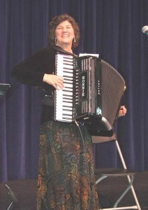 Bonnie Birch and her accordion will add some Old European flair to the Holiday Market from 10-11 a.m. Saturday.