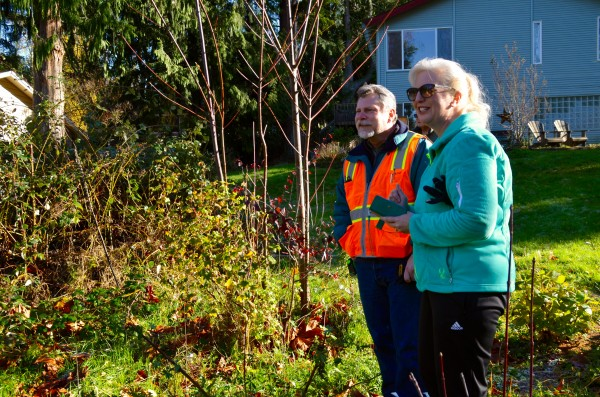 City of Edmonds Capital Projects Engineer Ed Sibrel and Diane Mooney wait for the rock to be unloaded.